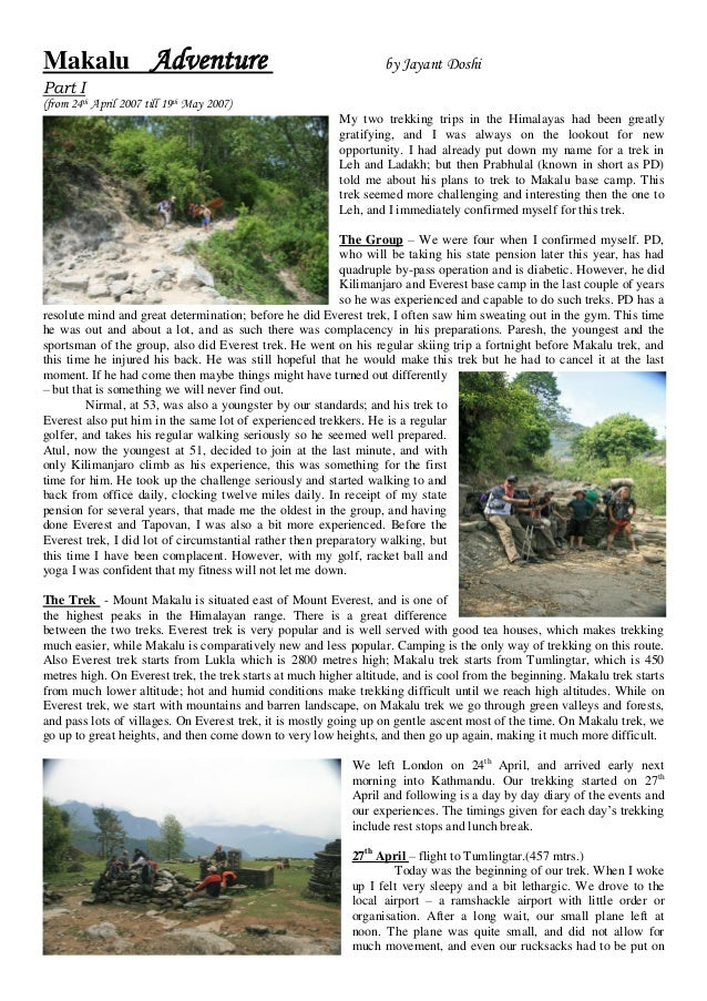 Makalu Adventure                                                  by Jayant DoshiPart I(from 24th April 2007 till 19th May...