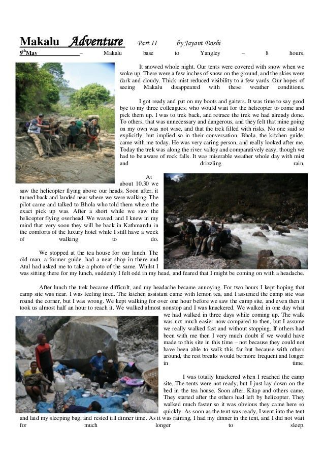 Makalu Adventure                                 Part II          by Jayant Doshi th9 May                    –         Mak...