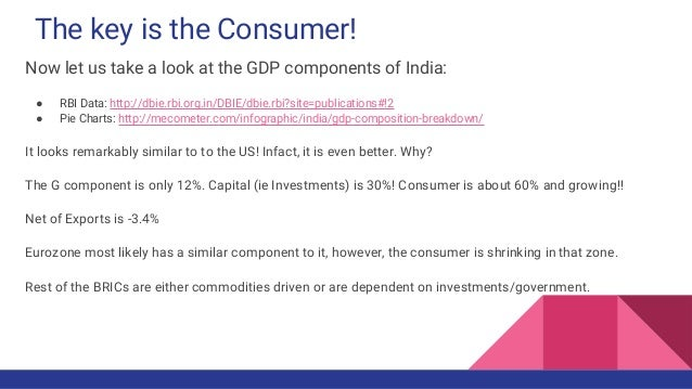 The key is the Consumer! Now let us take a look at the GDP components of India: ● RBI Data: http://dbie.rbi.org.in/DBIE/db...