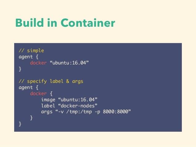 Syntax • https://github.com/jenkinsci/pipeline-model- definition-plugin/wiki/Syntax-Reference • https://jenkins.io/doc/book...