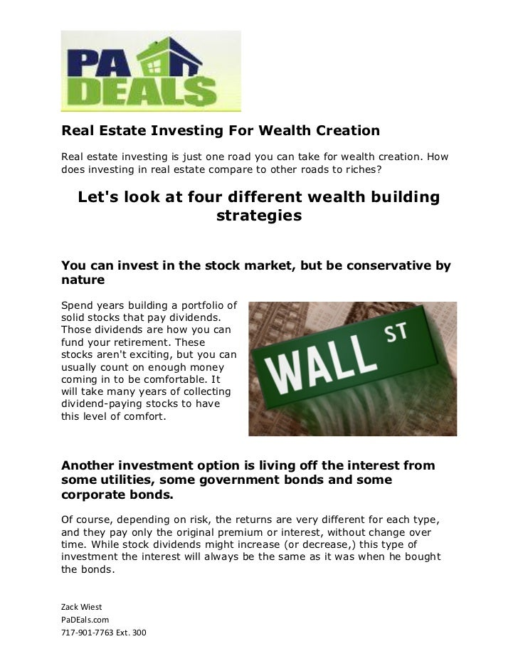 Real Estate Investing For Wealth CreationReal estate investing is just one road you can take for wealth creation. Howdoes ...