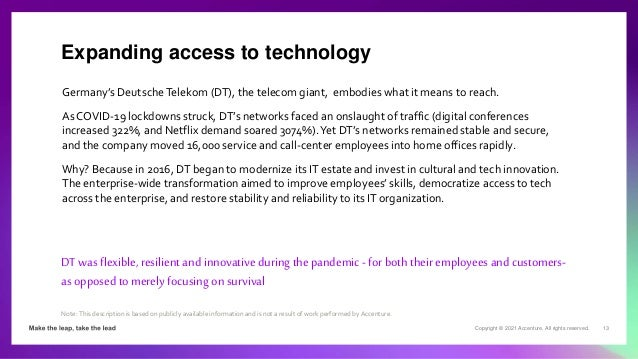 Copyright © 2021 Accenture. All rights reserved. 13 Germany's DeutscheTelekom (DT), the telecom giant, embodies what it me...