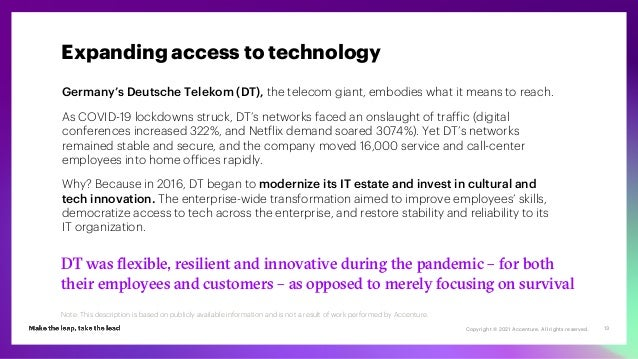 Copyright © 2021 Accenture. All rights reserved. 13 Germany's Deutsche Telekom (DT), the telecom giant, embodies what it m...