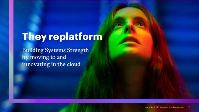 They replatform Building Systems Strength by moving to and innovating in the cloud 8 Copyright © 2021 Accenture. All right...