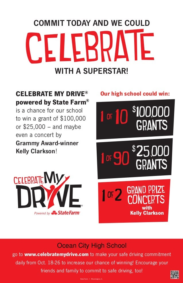 COMMIT TODAY AND WE COULD  WITH A SUPERSTAR! CELEBRATE MY DRIVE® powered by State Farm®  Our high school could win:  is a ...