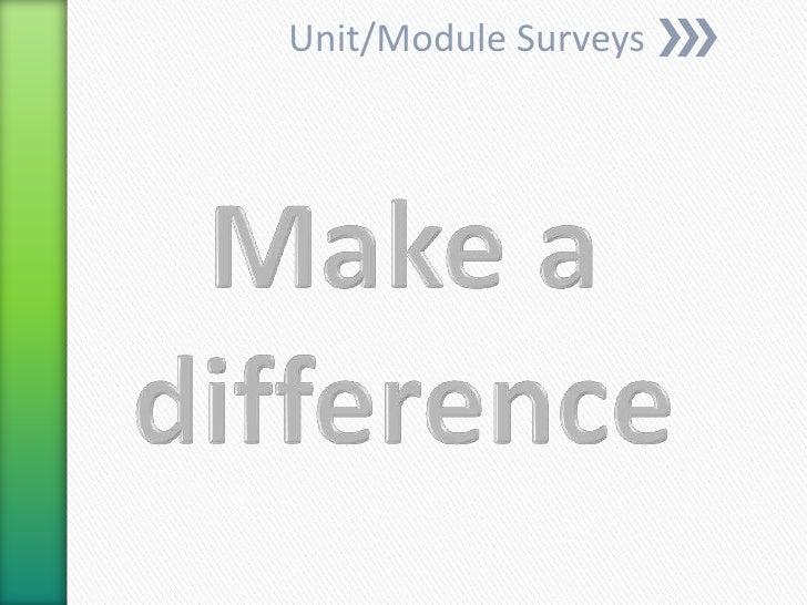 Unit/Module Surveys<br />Make a difference<br />