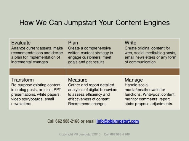 How We Can Jumpstart Your Content Engines Evaluate Analyze current assets, make recommendations and devise a plan for impl...