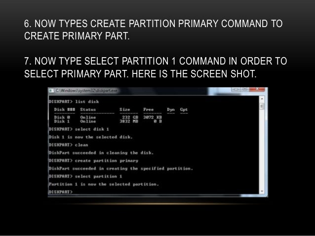 how to create partition in command prompt