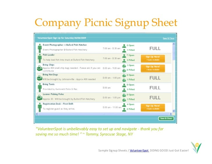 picnic sign up sheet template