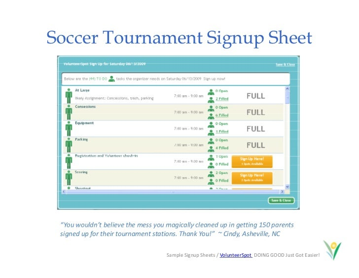 soccer sign up sheet