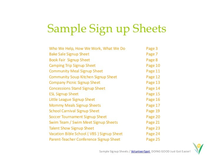 Doc463620 Signup Sheets Sign Up Sheets Potluck Sign Up Sheet – Make a Signup Sheet