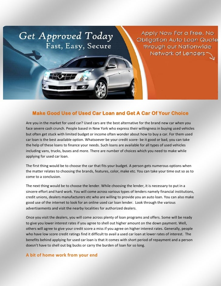 Used Car Loan >> Make Good Use Of Used Car Loan And Get A Car Of Your Choice