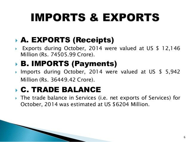  A. EXPORTS (Receipts)  Exports during October, 2014 were valued at US $ 12,146 Million (Rs. 74505.99 Crore).  B. IMPOR...