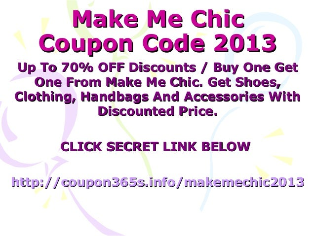 make me chic coupons march 2013 70 off coupon code march