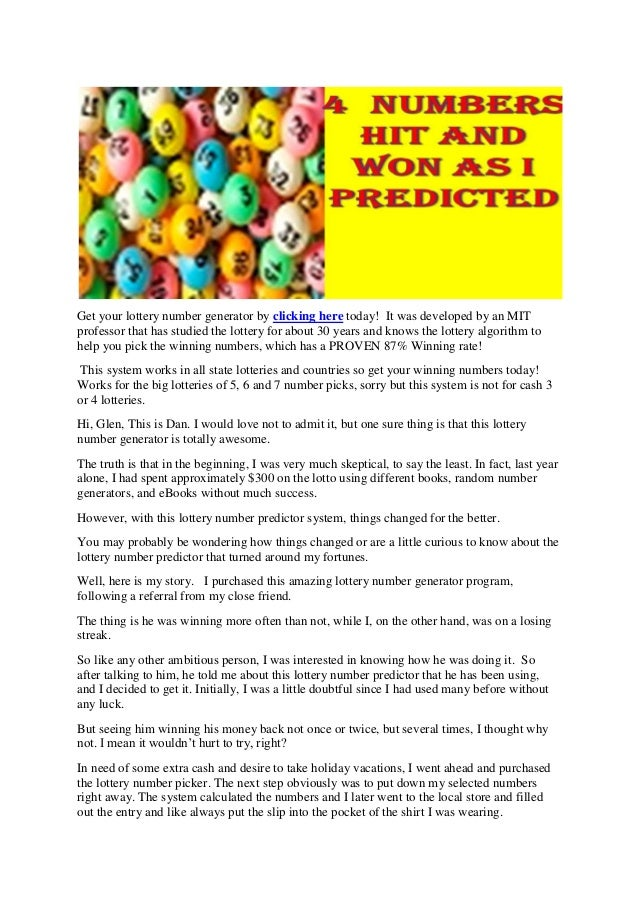 Get your lottery number generator by clicking here today! It was developed by an MIT professor that has studied the lotter...