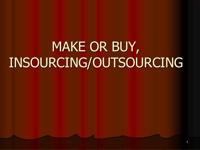 make or buy This chapter addresses how managers analyze costs to make short-term outsourcing decisions using incremental analysis this type of decision is often called a 'make or buy' decision because it involves a decision of whether to continue 'making' (manufacturing) a product versus buying it from an outside company.