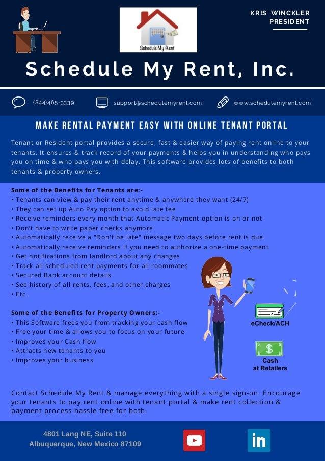 schedule my rent inc kris winckler president 844465 3339 support