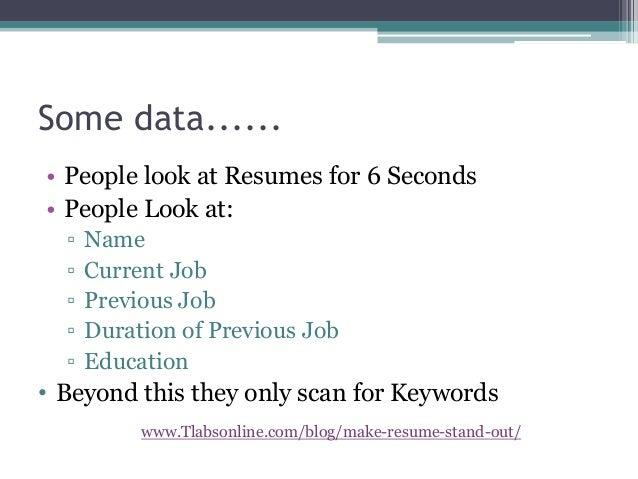 Tlabsonline.com/blog/make Resume Stand Out/; 2.