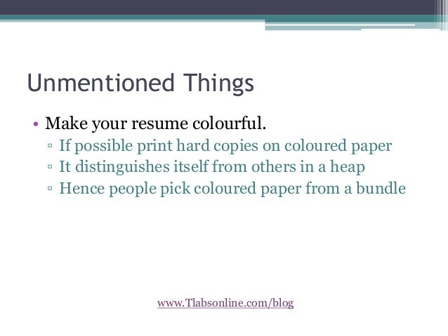 Tlabsonline.com/Blog; 5. Unmentioned Things U2022 Make Your Resume ...