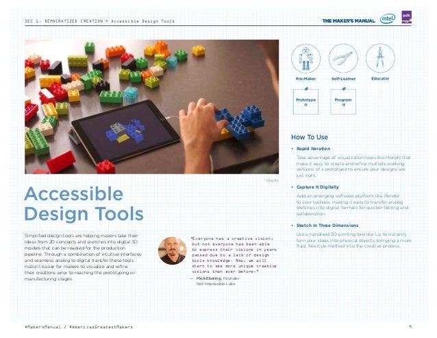 SEC 1. DEMOCRATIZED CREATION > Accessible Design Tools 9#MakersManual / #AmericasGreatestMakers LABS Gravity • Rapid Iter...