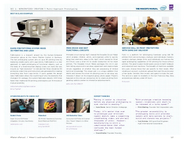 BEST IN CLASS EXAMPLES 12#MakersManual / #AmericasGreatestMakers LABSSEC 1. DEMOCRATIZED CREATION > Multi-Approach Prototy...
