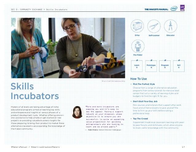 SEC 2. COMMUNITY EXCHANGE > Skills Incubators 17#MakersManual / #AmericasGreatestMakers LABS Etsy's Craft Entrepreneurship...