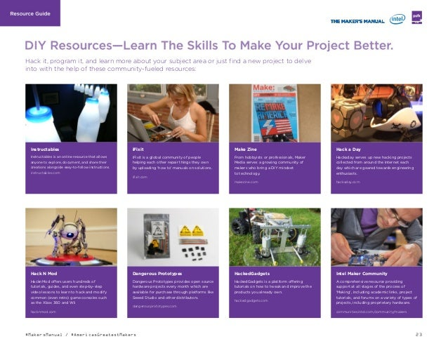 23#MakersManual / #AmericasGreatestMakers LABS Instructables Instructables is an online resource that allows anyone to exp...