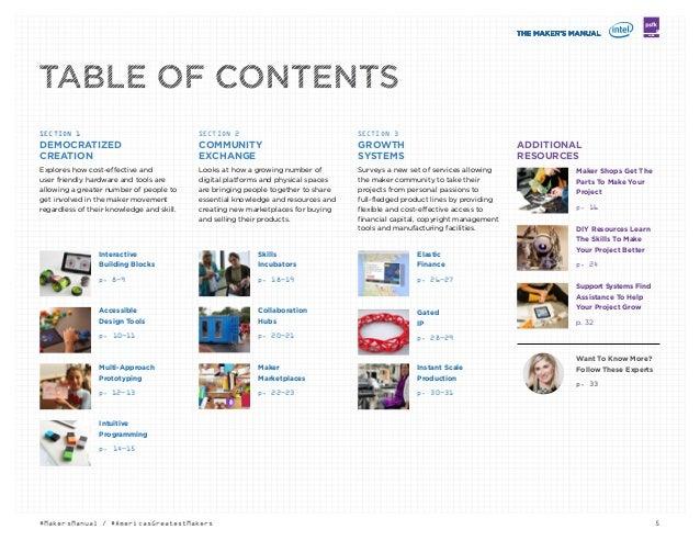 5#MakersManual / #AmericasGreatestMakers LABS DEMOCRATIZED CREATION Interactive Building Blocks p. 8—9 Accessible Design ...