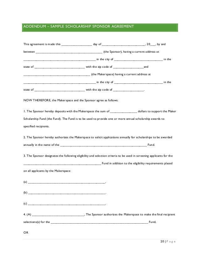 Sample Sponsorship Agreement Sponsorship Agreement Template 10 – Sponsor Agreement Template