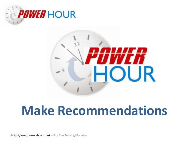 Make Sales Recommendations Http://www.power-hour.co.uk – Bite Size Training Materials Make Recommendations