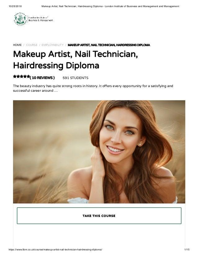 Makeup Artist Nail Technician Hairdressing Diploma Libm