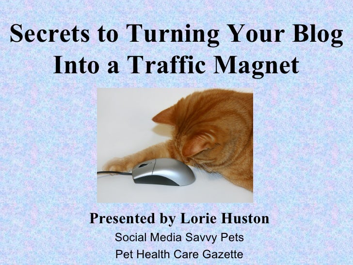 Secrets to Turning Your Blog   Into a Traffic Magnet      Presented by Lorie Huston         Social Media Savvy Pets       ...