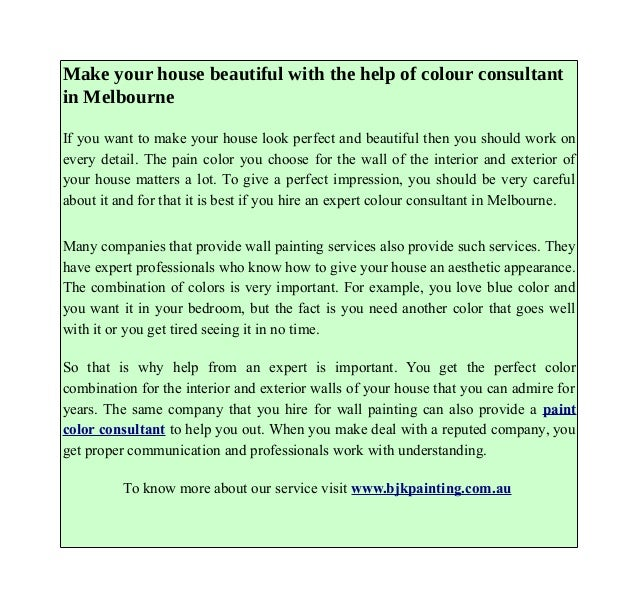 Make Your House Beautiful With The Help Of Colour Consultant In Melbo