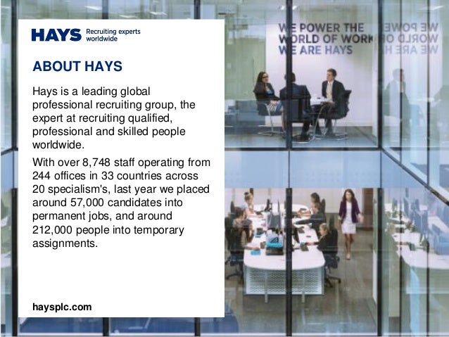 ABOUT HAYS Hays is a leading global professional recruiting group, the expert at recruiting qualified, professional and sk...