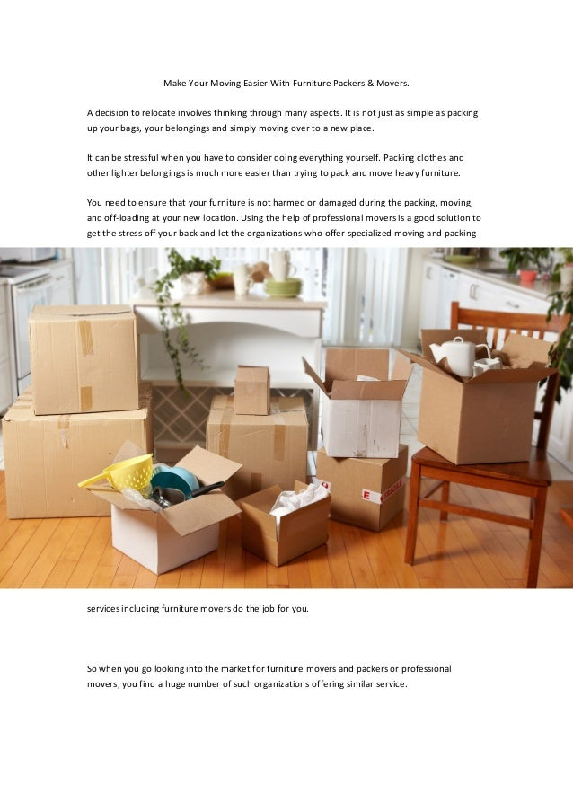 Make Your Moving Easier With Furniture Packers Movers