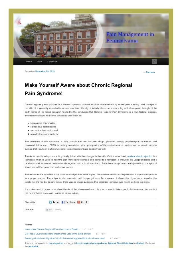 Home  About  Search  Contact Us  Posted on December 23, 2013  ← Previous  Make Yourself Aware about Chronic Regional Pain ...