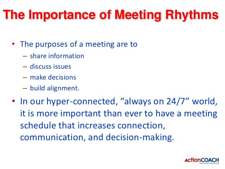 Meeting Schedule• Daily Meeting: 8:48 to 9:00 AM every business day   – Daily Accountability (who is going to do what by w...