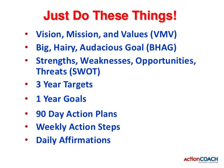 Vision, Mission, Values• WHY  – Contribute to a cause greater than my own• HOW  – Connecting, Coaching, and Educating• Vis...