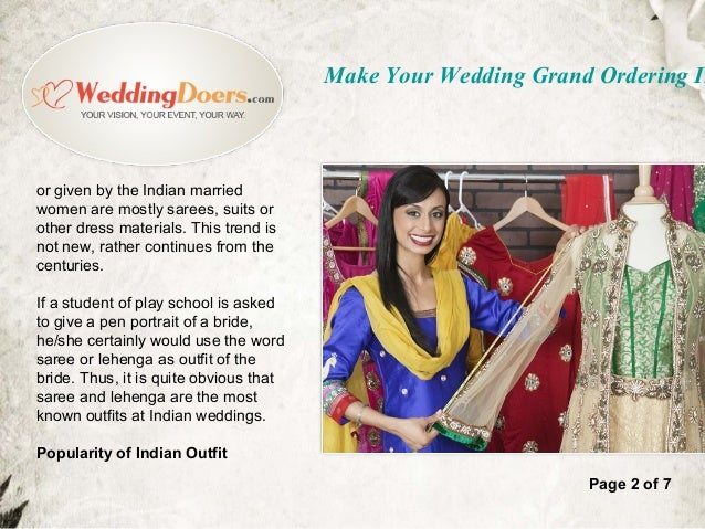 Make your wedding grand ordering indian outfits online