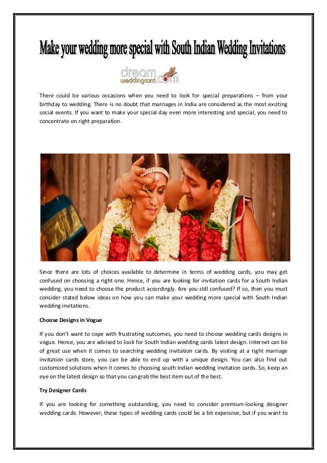 Make Your Wedding More Special With South Indian Wedding