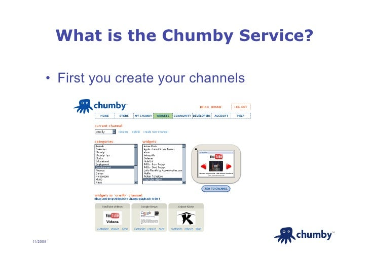 What is the Chumby Service?        • First you create your channels                                               TM     ...