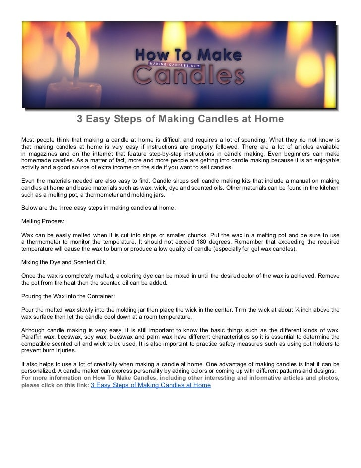 3 Easy Steps of Making Candles at Home