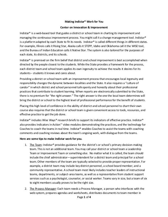 Page 1 of 4 Making Indistar® Work for You Center on Innovation & Improvement Indistar® is a web-based tool that guides a d...