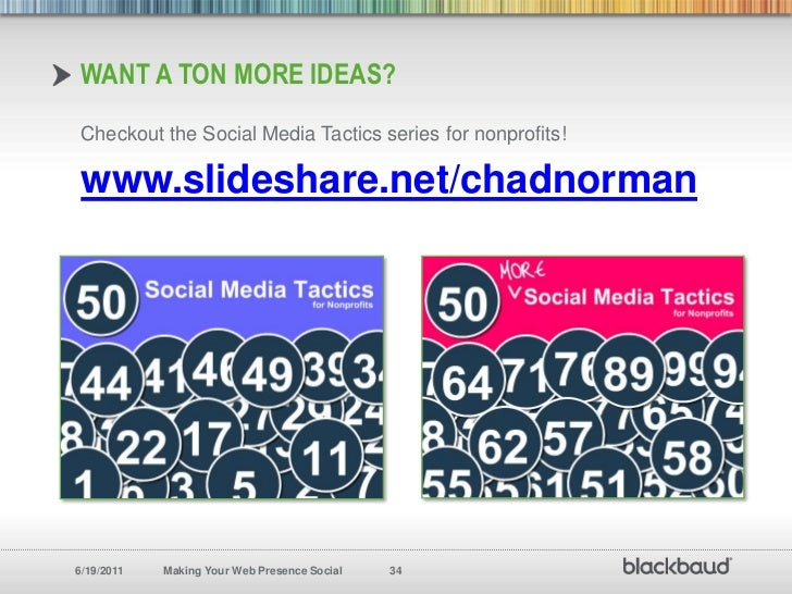 Want a ton more ideas?<br />Checkout the Social Media Tactics series for nonprofits!<br />www.slideshare.net/chadnorman<br />