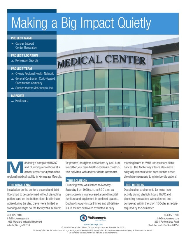 M cKenney's completed HVAC and plumbing renovations at a cancer center for a prominent regional medical facility in Kennes...