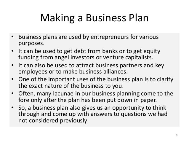 Making a business plan