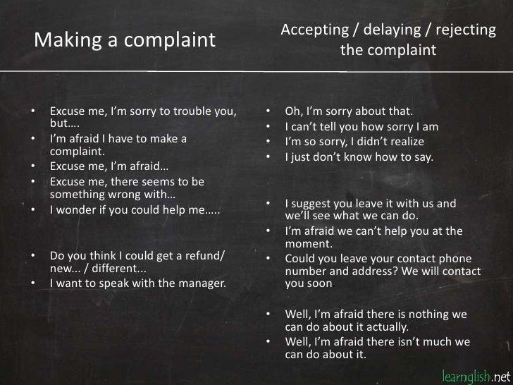 Making a complaint Slide 2