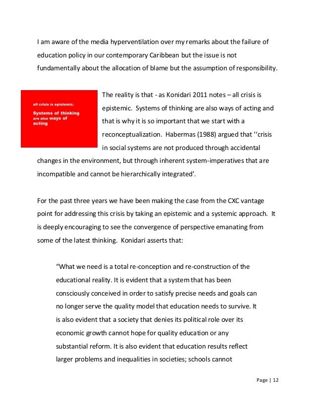 Page   12 I am aware of the media hyperventilation over my remarks about the failure of education policy in our contempora...