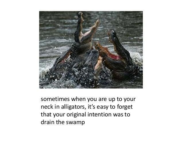 sometimeswhenyouareuptoyour neckinalligators,it'seasytoforget thatyouroriginalintentionwasto drainthe...