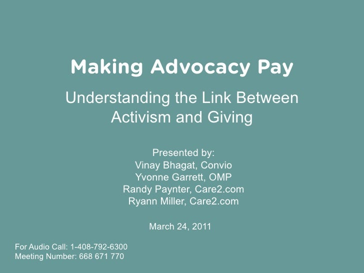 Making Advocacy Pay        Understanding the Link Between             Activism and Giving                              Pre...